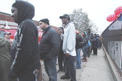 Long line waiting for survival necessities in Coney Island